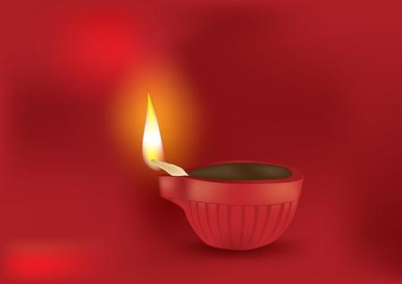 an oil lamp: Diwali Diya en fondo rojo - ilustración vectorial