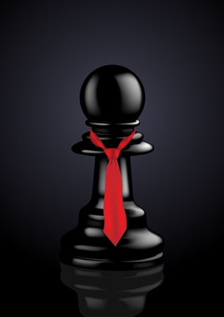 Executive Pawn with Red Tie - Vector Illustration