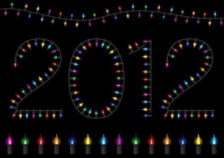 Colorful Festive Glow Light - 2012 Happy New Year Stock Vector - 11254796