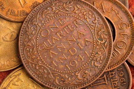 monedas antiguas: Moneda antigua India - Una cuarta Anna