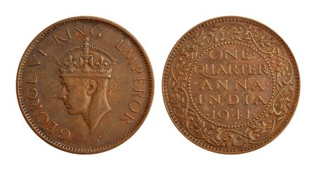 anna: Old Indian Currency Coin - One Quarter Anna