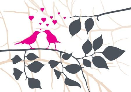 love birds: Love Birds on a Tree - Vector Illustration