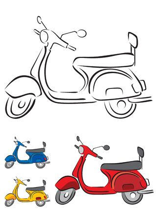 moped: Scooter Vector Illustration in 3 different colors Illustration