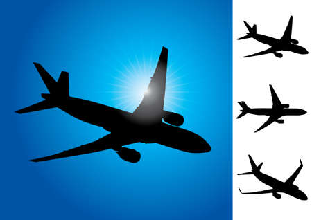 Three airplanes vector illustration Vector