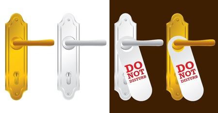 do not disturb: Door handle in gold and silver - vector illustration