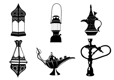 hookah: Middle Eastern Vector Icon Illustrations - Lamps, Coffee Pot, Hookah