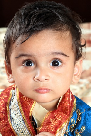 kurta: Indian Baby Boy in Traditional Indian Outfit Stock Photo