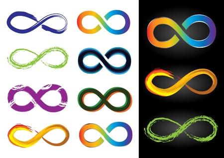 bucle: Ocho diferentes s�mbolos del infinito - Vector Ilustraciones