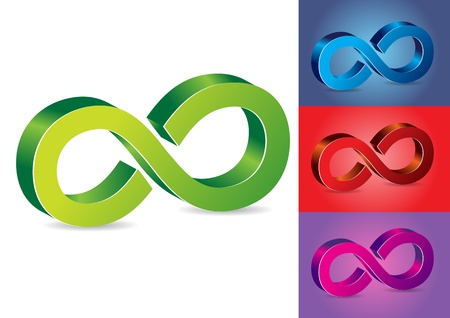 Infinity Symbol Vector Illustration in Different Colors Vector