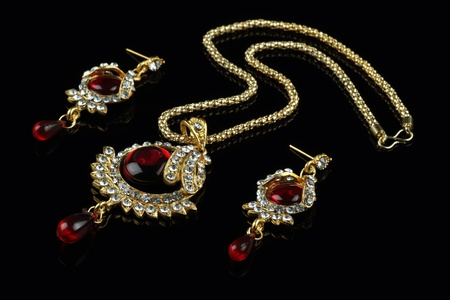 Indian Style Jewellery Set - Necklace and Earrings Stock Photo - 21825031