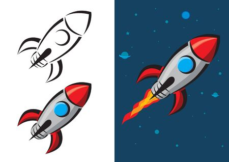 Retro Style Rocket Vector Illustration Vector