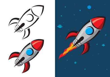 rocketship: Retro Style Rocket Vector Illustration