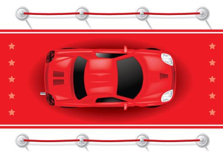 Car Top View on Red Carpet - Vector Illustration Vector