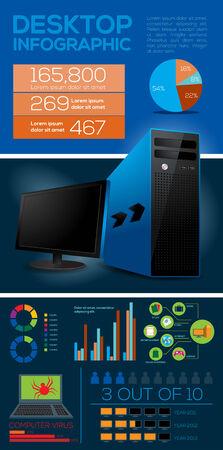Desktop Computer Infographic Elements - Vector Illustration Vector