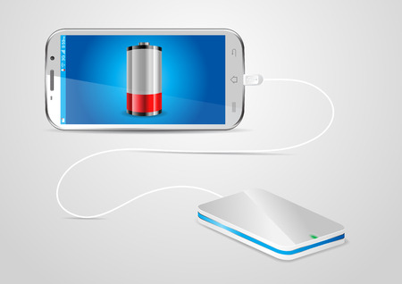 charger: Charging a mobile phone with a powerbank - vector illustration