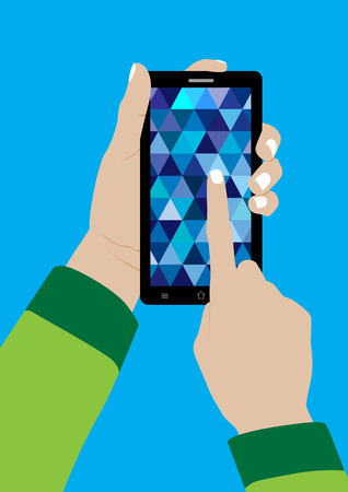 touch sensitive: Modern Touchscreen Mobile Phone and Hand - Vector Illustration Illustration