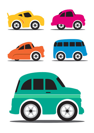 Different Retro  Vintage Car Cartoon - Vector Illustration