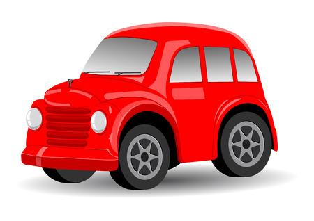 Rojo retro  vintage de dibujos animados coche - ilustración vectorial Vectores
