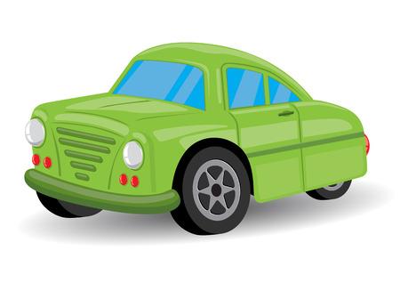 Verde Retro  Vintage dibujos animados de coches - ilustración vectorial