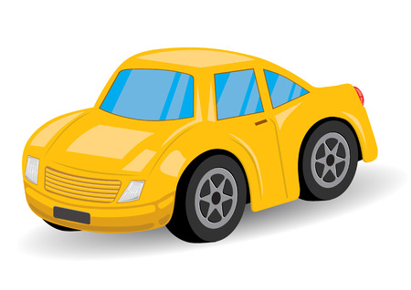 Yellow Sports Car Cartoon - Vector Illustration Vector