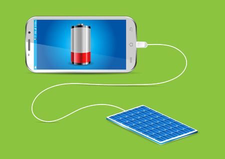 charger: Charging a mobile phone with a Solar powerbank - vector illustration