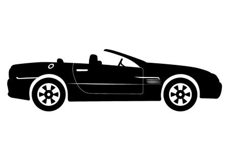 convertible car: Black Convertible Car Vector Illustration