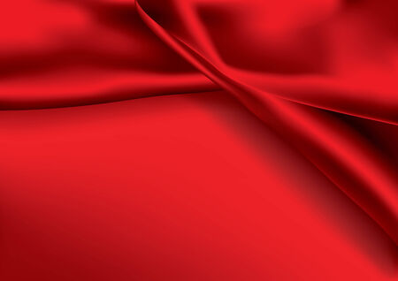 silky velvet: Red colored satin fabric background with copy space Illustration