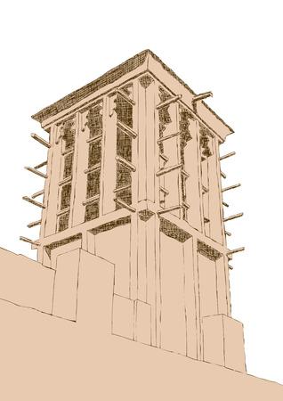 emirates: Hand drawn Sketch of Wind Tower Architecture in Dubai, United Arab Emirates Illustration