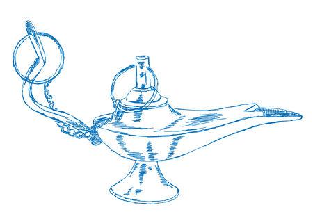 jinn: Hand Drawn Aladdins Lamp - Vector Illustration