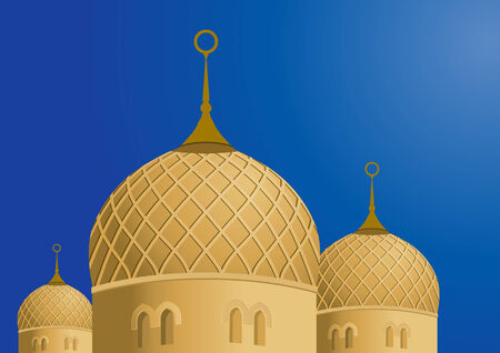 mosque illustration: Mosque and Blue Sky - Vector Illustration