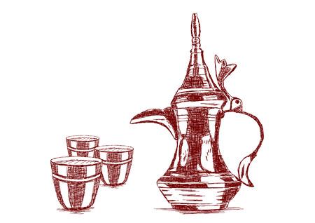 pot: Old Style Hand Drawn Arabic Coffee Pot - Vector Illustration Illustration