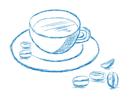mocca: Coffee and Beans Sketch - Vector Illustration Illustration