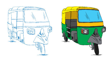 rikscha: Indian Auto Rickshaw-Skizze - Vector Illustration Doodle