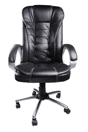 executive chair: Black Leather Office Chair isolated on white background Stock Photo