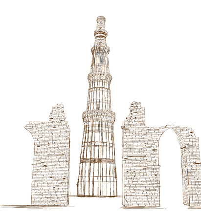 mughal architecture: Qutub Minar, New Delhi, India - Vector Illustration Illustration
