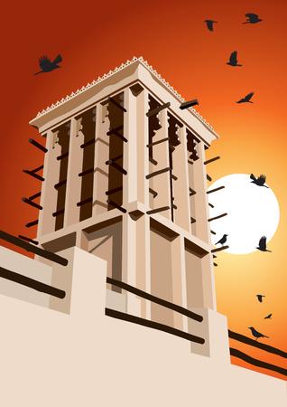 wind: Historical Wind Tower and Birds Vector Illustration Dubai, United Arab Emirates Illustration