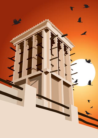 Historical Wind Tower and Birds Vector Illustration Dubai, United Arab Emirates Illustration