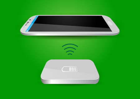 battery charger: Wireless Battery Charger and Smartphone or Tablet - Vector Illustration