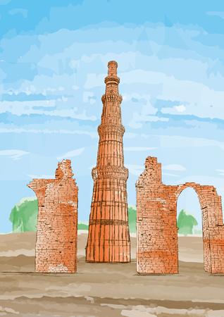qutub minar: Hand Drawn Qutub Minar, New Delhi, India - Vector Illustration
