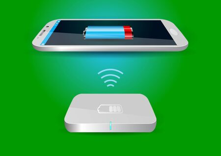 wireless communication: Wireless Battery Charger and Smartphone or Tablet - Vector Illustration
