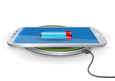 Wireless Battery Charger Pad with a Smartphone - Vector Illustration