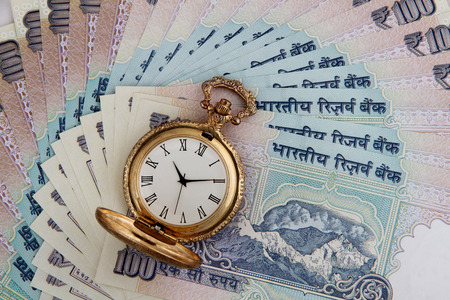 rupee: Indian Currency Rupees with Antique Watch