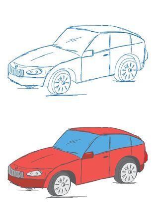 four wheeler: Hand Drawn Car Vehicle Scribble Sketch Illustration