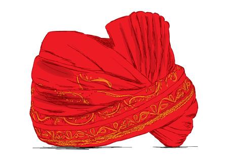 pokrývka hlavy: Indická Pokrývky hlavy Turban použit v manželství - vektorové ilustrace