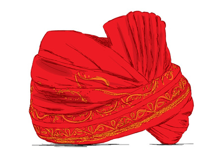 Indian Headgear Turban used in Marriages - Vector Illustration Illustration
