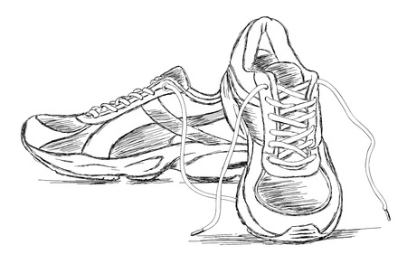 running shoe: Detailed Handmade Sneakers Shoe Vector Sketch Illustration