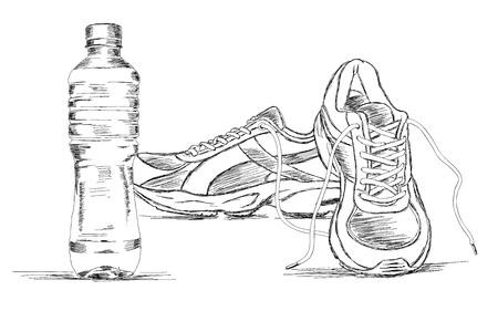zapato: Botella de agua y las zapatillas de deporte del zapato del bosquejo del vector Ilustración