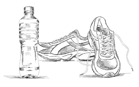 Water Bottle and Sneakers Shoe Vector Sketch Illustration Çizim