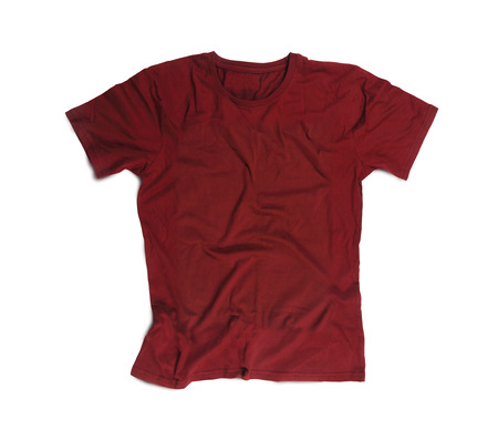 color: Maroon Blank T-shirt for Mockup Isolated on White