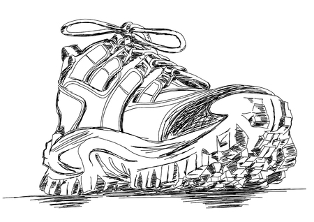 heavy duty: Tough Trekking Shoes Vector Doodle Illustration